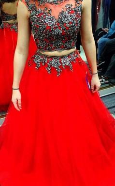 A-linie Satin Schaufel Bodenlang Mit Applikation Zweiteiliges Kleid JTC3923