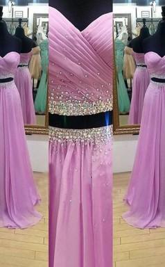 A-linie Chiffon Schatz Bodenlang Mit Perlen Zweiteiliges Kleid JTC4093