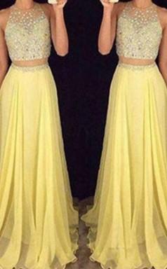 A-linie Chiffon Schaufel Mit Perlen Zweiteiligen Kleid JTC4103