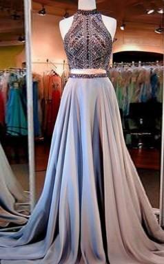 A-linie Satin High Neck Bodenlang Mit Perlen Zweiteiliges Kleid JTC5673