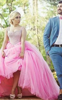 Ballkleid Tüll Schatzzug Mit Perlen Plus Größe Kleid JTC7603