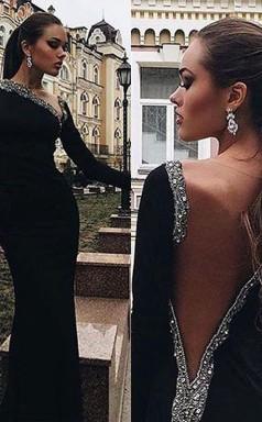 Meerjungfrau Lange Ärmel Ein-schulter-spandex Mit Perlen Bodenlanges Kleid JTC9613