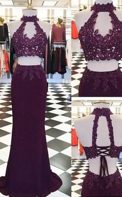 Etage Halfter Bodenlang Mit Applikation Zweiteiliges Kleid JTCv2433