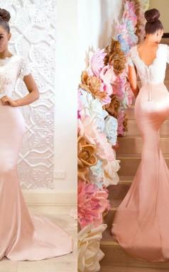 Rosa Kurze Ärmel Brautjungfernkleider Spitze Meerjungfrau Trauzeugin Kleid LV06012