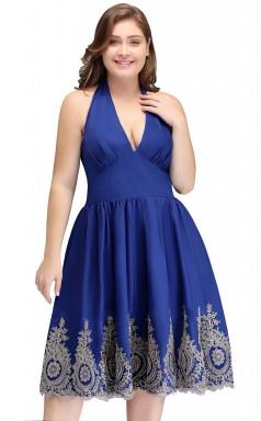 Blaue Knöchellange Brautjungfern- / Partykleider Mit V-ausschnitt PPBD023