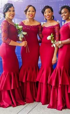 Elegantes, Schulterfreies, Schulterfreies Meerjungfrauenkleid Mit Langen Ärmeln Und Perlen QQ01272