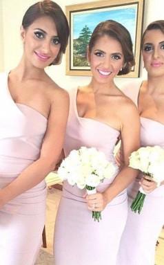 Bescheidenes Hi-lo A-linie ärmelloses Langes Einschultriges Brautjungfernkleid RP01462