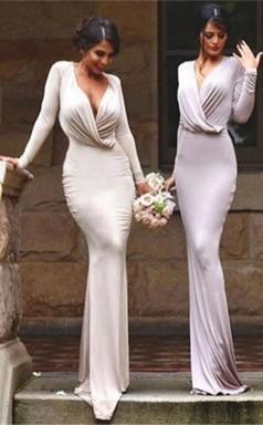 Elegantes Langes Ärmel V-ausschnitt Etui Bodenlanges Brautjungfernkleid RP01842