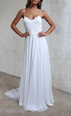 Elegante A-linie Träger Weißes Langes Chiffon Strandhochzeitskleid Twa1022