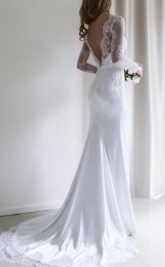 Elegante Spitze Langarm Meerjungfrau Weißes Langes Brautkleid Mit Schleppe Twa1102