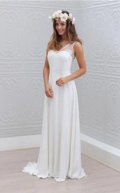Elegantes Bowknot Chiffon V-ausschnitt Spitze ärmelloses Weißes Hochzeitskleid Twa1212