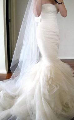 Sweetheart Sweep Zug Gestuftes Meerjungfrau Brautkleid Elfenbein Gerüscht Twa1622
