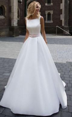 Zum Verkauf Prinzessin Einfaches A-linie Satin-elfenbein-hochzeitskleid Twa2052