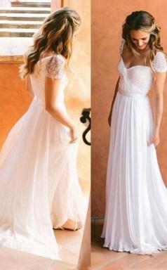 Schönes Langes Brautkleid Mit Chiffon A-lineprincess Reißverschluss Twa2062