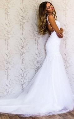 Elegante Träger Meerjungfrau Weißes Langes Hochzeitskleid Brautkleid Twa2092