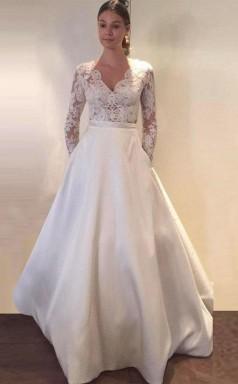 A-linie Lange Ärmel Satin Brautkleid Mit Taschen Spitze Twa2162