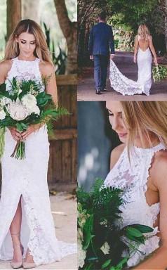 Romantisches Sexy Vorne Geschlitztes ärmelloses Spitzenhochzeitskleid Mit Schleppe Twa2692