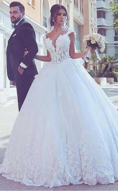 Tüll V-ausschnitt Ballkleid Brautkleid Mit Spitzenapplikationen Twa2822