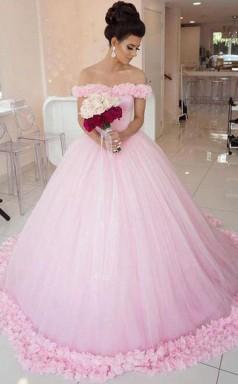 Schulterfreies Vintage Rosa Ballkleid Brautkleid Twa3032